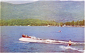 Lake George NY Water Skiing Postcard p1401 (Image1)