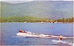 Lake George NY Water Skiing Postcard p1401 (Image1)