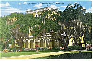 East Beach  Biloxi MS Tivoli Hotel Postcard p14350 (Image1)