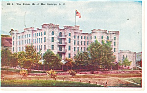 Hot Springs SD Evans Hotel Postcard p14364 1927 (Image1)