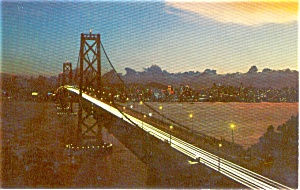 San Francisco Bay Bridge at Night Postcard (Image1)