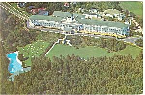Mackinac Island MI Grand Hotel Aerial Postcard p14412 1965 (Image1)