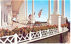 Mackinac Island MI Grand Hotel Porch Postcard p14414 1963 (Image1)