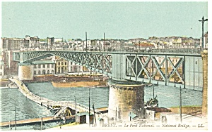 Brest France La Pont National National Bridge Postcard p14545 (Image1)