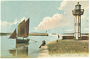 Brest,France-Les Phares et la Goulet-Harbor Postcard (Image1)