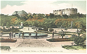 Brest France The Square Of The Castle Postcard P14576