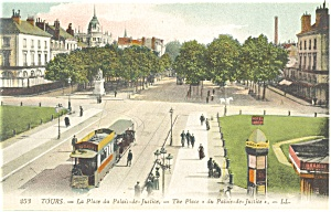Tours, France-The Place Palace Justice Trolley Postcard (Image1)