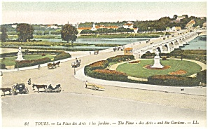 Tours, France-The Place des Arts-and Gardens Postcard (Image1)