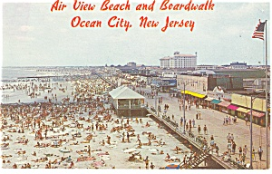 Air View Boardwalk Ocean City Nj Postcard P14619 1965