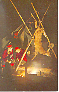 Deer Hunters by the Fire Postcard (Image1)