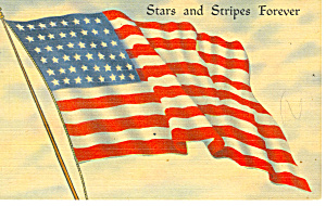 Stars And Stripes Forever Postcard 1944