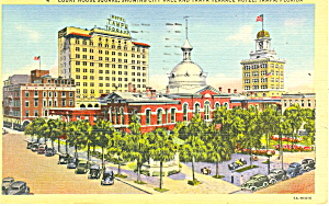 Tampa Fl Court House Square Postcard P14927 1944
