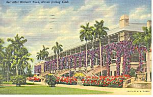Hialeah Park Miami FL Jockey Club Postcard p14929 1940 (Image1)