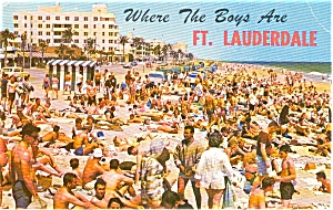 Ft Lauderdale FL Beach Scene Postcard p1496 (Image1)