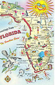 Florida State Map Postcard (Image1)