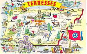 Tennessee State Map Postcard p15040 (Image1)