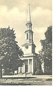 First Congregational Lexington MA Postcard p15155 (Image1)