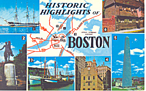 Historic Highlights of Boston,MA Postcard p15187 (Image1)