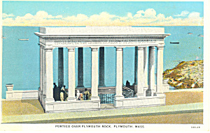 Portico over Rock Plymouth MA Postcard (Image1)