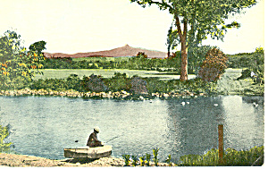 Man In Rowboat Fishing, Scenic Postcard