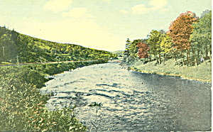 Road Along A Stream, Scenic Postcard
