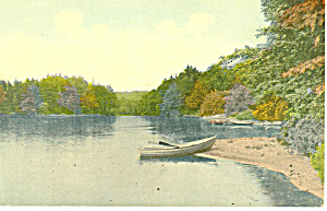 Rowboat on Lake Shore Scenic Postcard (Image1)