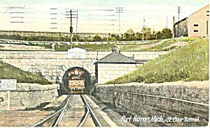 Fort Huron MI  St Clair Tunnel Postcard p15298 1913 (Image1)