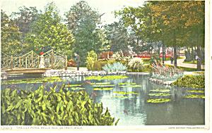 Lily Pond,Belle isle,Detroit MI Postcard 1916 (Image1)