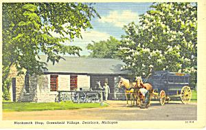 Blacksmith Shop Greenfield Village MI Postcard p15327 1957 (Image1)