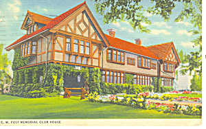 CW Post Club House, Battle Creek, MI Postcard 1939 (Image1)