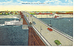 EADS Bridge,St Louis, MO Postcard 1940 (Image1)
