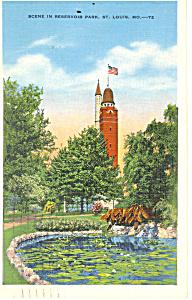 Reservoir Park,St Louis, MO Postcard 1936 (Image1)
