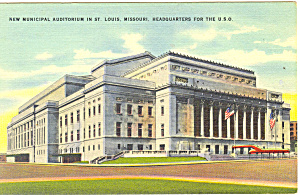 Municipal Auditorium,St Louis, MO Postcard 1943 (Image1)