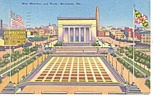 War Memorial and Plaza,Baltimore, MD Postcard 1944 (Image1)