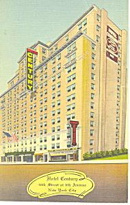 Hotel Century New York City NY Postcard p15533 1943 (Image1)