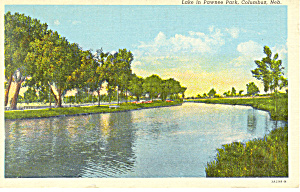 Columbus, NE, Lake in Pawnee Park Postcard 1946 (Image1)