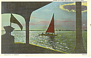 Sailing on Lake Babcock, Columbus  NE, Postcard 1945 (Image1)