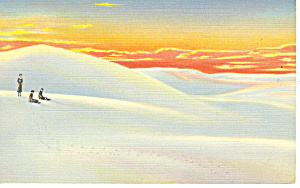 Sunset on White Sands National Monument NM  Postcard p15675 (Image1)