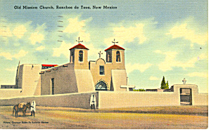 Old Mission Church,Rancho Taos,NM  Postcard 1944 (Image1)