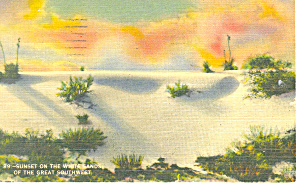 Sunset on White Sands National Monument NM  Postcard p15689 (Image1)