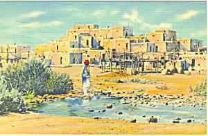 Pueblo de Taos NM  Postcard 1939 (Image1)