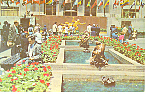 Channel Garden Rockefeller Center, NY  Postcard 1954 (Image1)