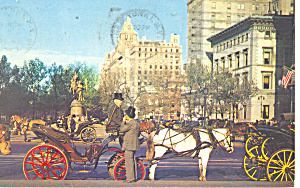Carriages 59th St.New York City NY  Postcard p15802 1963 (Image1)