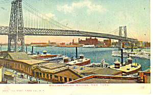 Williamsburg Bridge New York City  NY  Postcard p15807 1906 (Image1)
