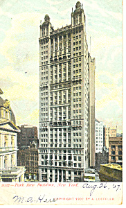Park Row Bldg,New York City, NY  Postcard 1907 (Image1)