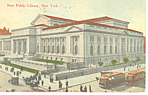 Public Library New York City NY  Postcard p15835 1914 (Image1)