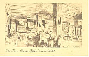 Amen Corner 5th Ave Hotel New York City Postcard p16025 (Image1)