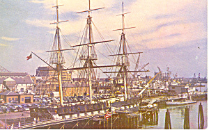 USS Consitution Old Ironsides at Pier Postcard (Image1)