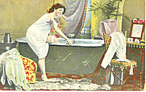 Victorian Lady Entering Bathtub Postcard ca 1915 (Image1)