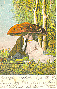 Victorian Kissing Couple   Postcard 1906 (Image1)